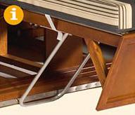 Liegemodelle serienmäßig mit höhenverstellbaren Fußstützen